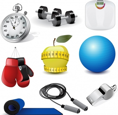 sports tools icons shiny colored modern 3d sketch