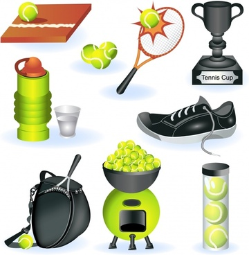 tennis sports design elements colored modern objects sketch