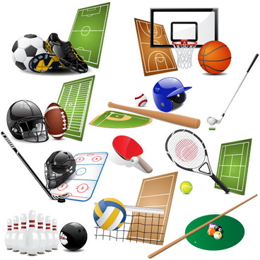 sports equipment vector set