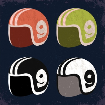 sports helmet icons isolation colored retro design