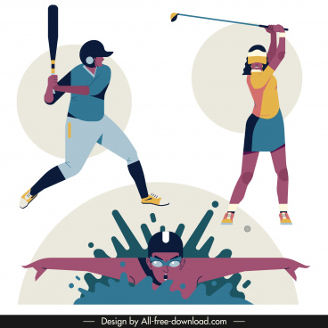 sports icons baseball golf swimming sketch cartoon design