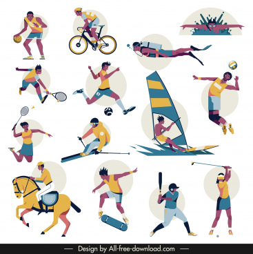 sports icons cartoon characters sketch colorful dynamic design