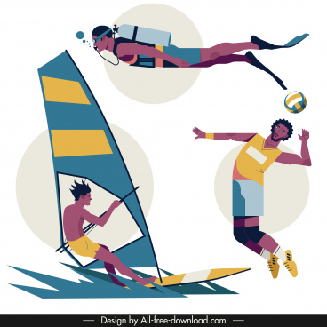 sports icons diving volleyball sailing sketch cartoon characters