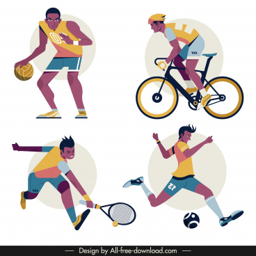 sports icons dynamic men sketch cartoon characters