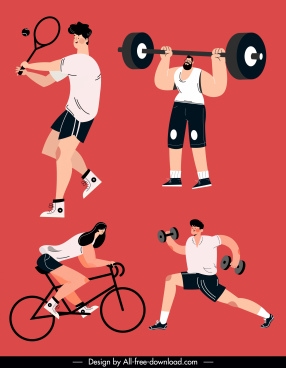 sports icons gym tennis cycling sketch cartoon design