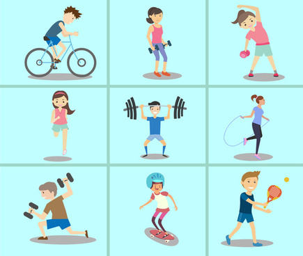 sports icons sets illustration in colored flat style