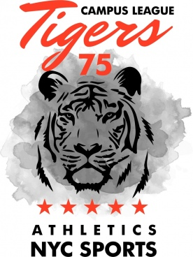 sports league advertisement tiger icon grunge decor