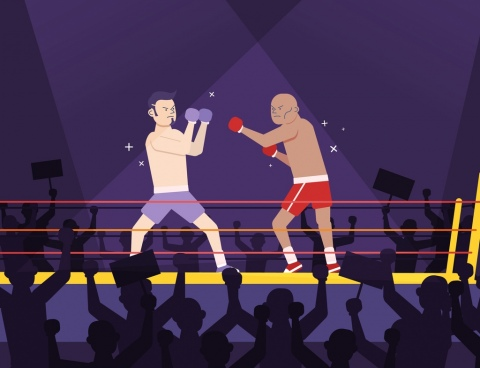 sports painting boxing theme cartoon characters