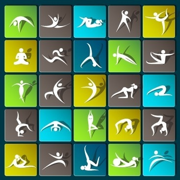 sports paper icons vector set