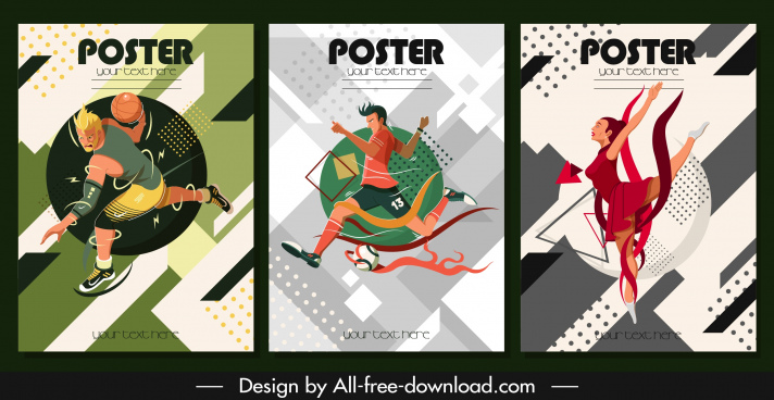 sports posters dynamic design cartoon characters sketch