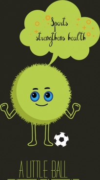 sports promotion banner cute stylized green ball icon
