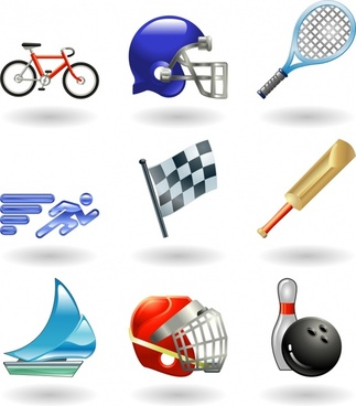 sports icons shiny modern design objects sketch