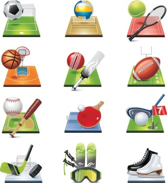 sports icons shiny colored modern 3d sketch