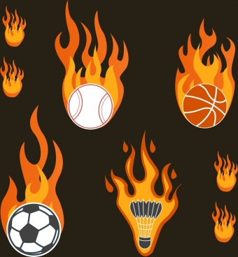 sports tools icons collection firing decoration