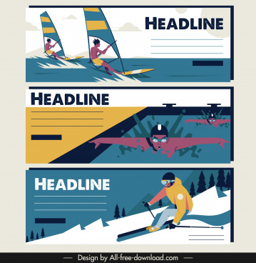 sports tournament banners sailing swimming skiing sketch