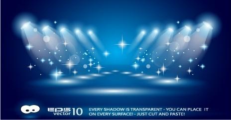 spotlights glare scene background vector