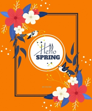spring background birds flowers icons classical decor