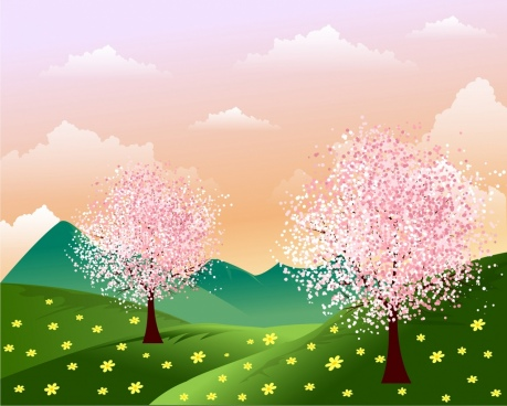 spring background blossom flowers on hill cartoon design