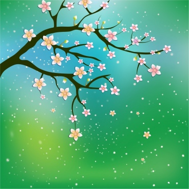 spring background cherry blossom ornament sparkling green backdrop