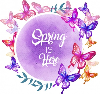 spring background colorful butterfly icons circle layout