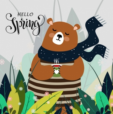 spring background cute bear icon colored cartoon