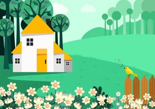 spring background flowers bird house icons decor