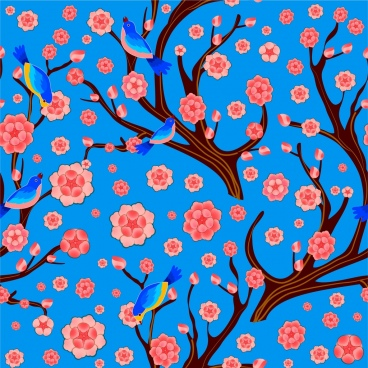 spring background red cherry blossom blue birds ornament