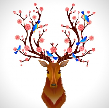 spring background reindeer antler flowers birds ornament