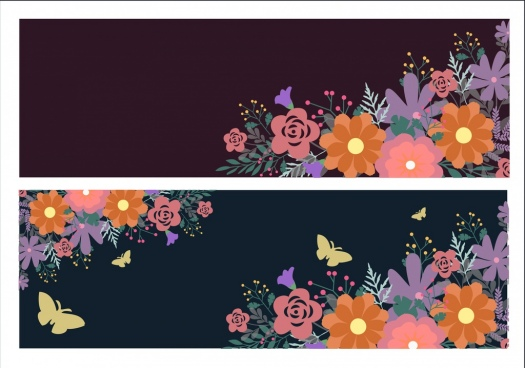 spring background sets colorful flowers butterflies dark ornament