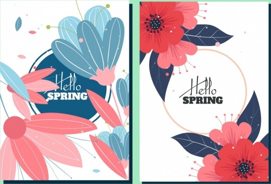 spring background sets flowers icons decor classical design