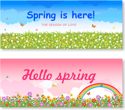 spring background sets illustration with flower field