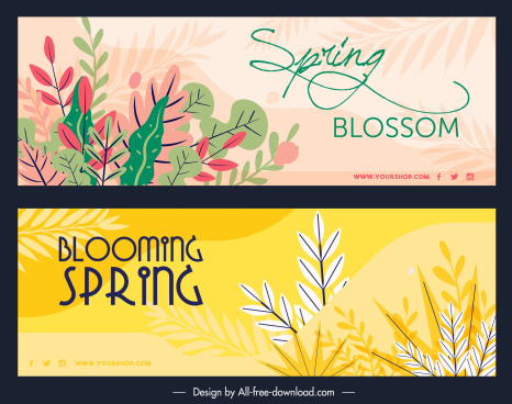 spring background templates colorful classic leaves decor