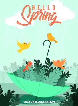 spring banner cute birds leaf umbrella icons