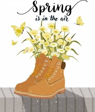 spring banner decorative flowers shoes icons decor