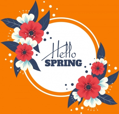 spring banner flowers leaf icons classical design