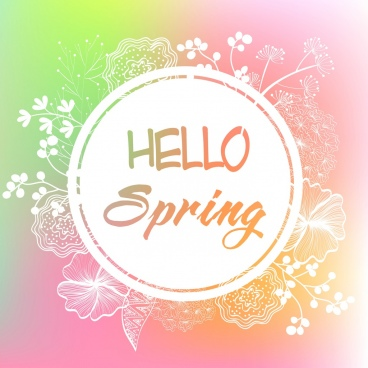 spring banner flowers sketch circle decoration