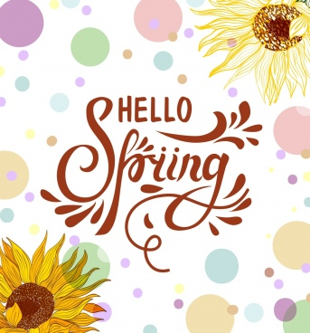 spring banner sunflowers colorful circles ornament