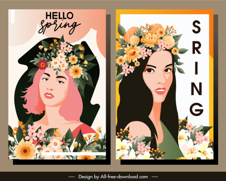 spring banners beautiful lady portrait flowers decor