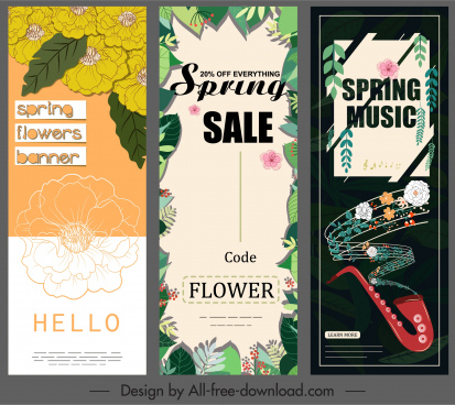 spring banners templates leaves flowers music decor