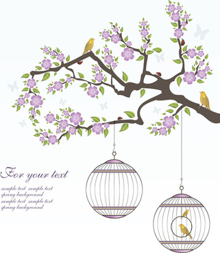 spring birds with flower background art