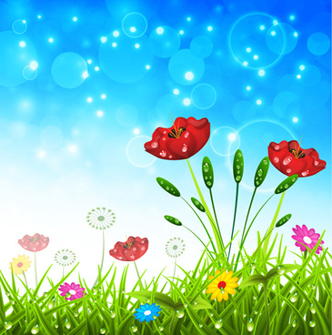 spring colored flower with halation background vector