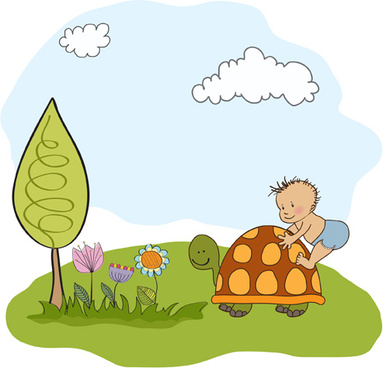 spring cute baby cards vector