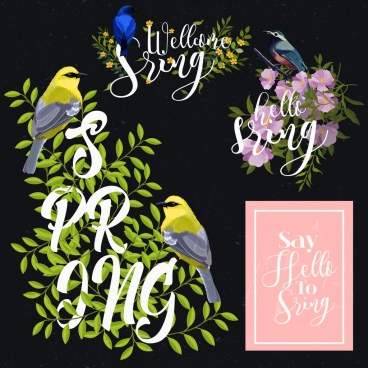 spring design elements birds flowers icons classical design