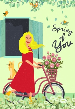 spring drawing lady cat flowers bicycle colored cartoon