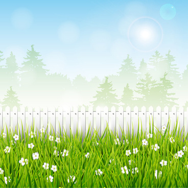 spring elements with green background