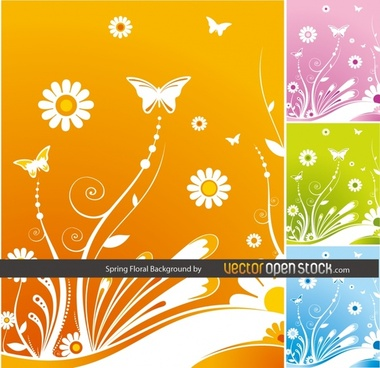 spring floral background collection various colored types