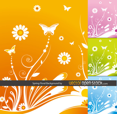 spring floral background witbh butterflies