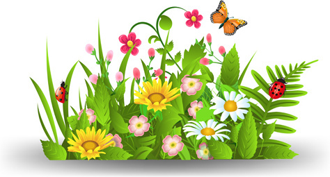 Spring flowers border clip art free vector download 217856 free spring flower with grass art background mightylinksfo