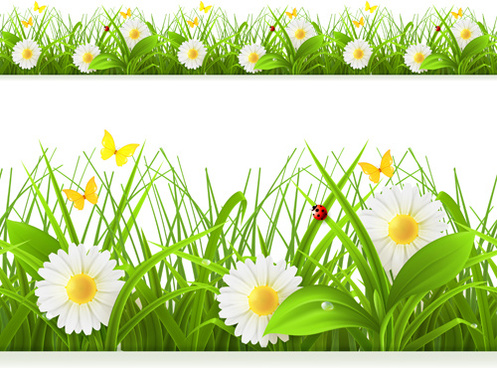 Spring flowers border clip art free vector download 216485 free spring flower with grass art background mightylinksfo