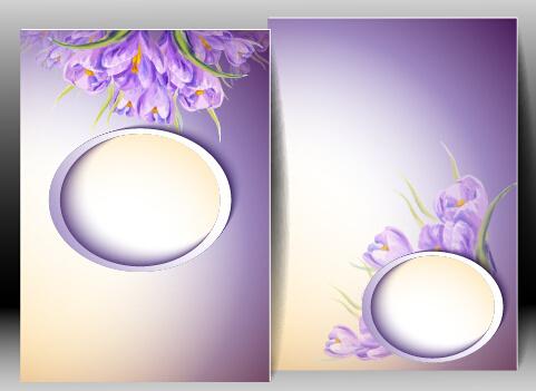spring flowers cards set vector